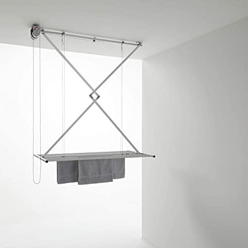 foxydry Mini Stendibiancheria a soffitto Manuale, stendino Verticale richiudibile in Alluminio e Acciaio (Grigio, 120)