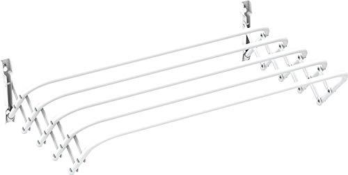 Gimi Brio Super 120 Stendibiancheria da Parete, Stendino a Fisarmonica, Estraibile, Spazio di Stenditura 6 m, Acciaio, 120 x 43 x 23 cm