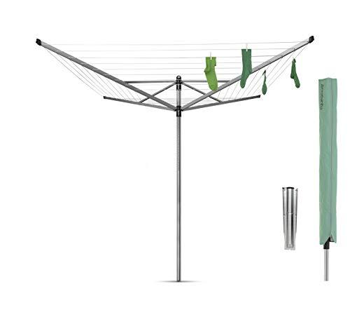 Brabantia 311048 Lift-O-Matic - Stendibiancheria da Esterno ad ombrello, con Tubo di Fissaggio Zincato e Capottina, Grigio (Metallic Grey), 60 m, Ø 45mm
