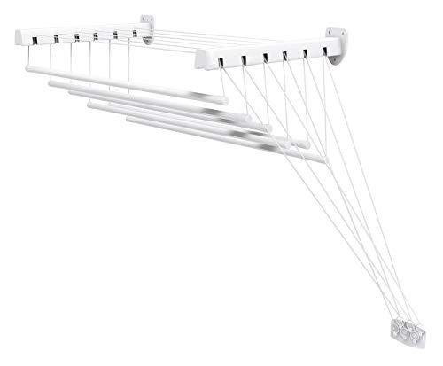Gimi Lift 100 Stendibiancheria da Parete e Soffitto in Acciaio, Stendino da 6 m, Metallo, Bianco