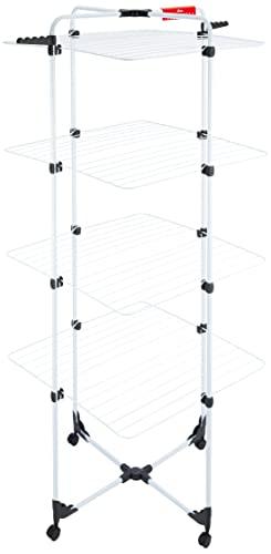 Vileda Mixer 4 Stendibiancheria a Torre, Ripiegabile, con Ruote, Metallo, Bianco, Quattro Piani