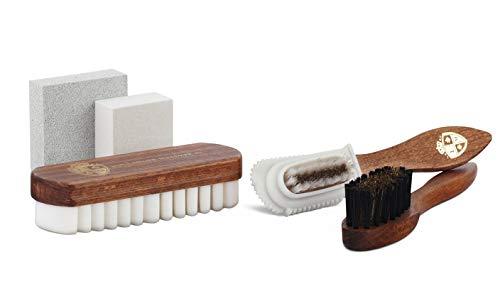 Langer & Messmer Set di 5 Spazzole scarpe e gomma camoscio per la cura professionale delle scarpe in pelle scamosciata (camoscio/nabuk)