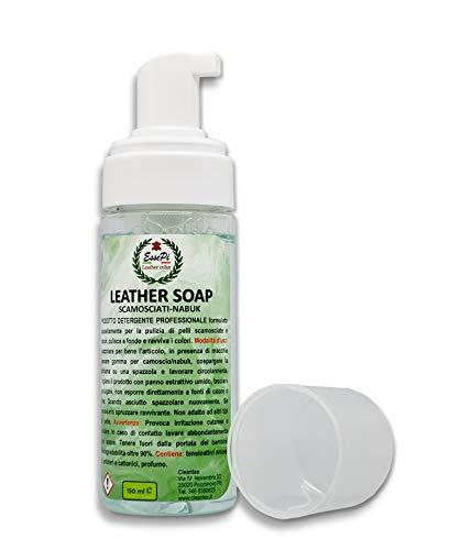 LEATHER SOAP detergente per Articoli in Pelle Scamosciata e Nabuk, pulisce e rinnova i colori. Schiuma no gas 150 ml.