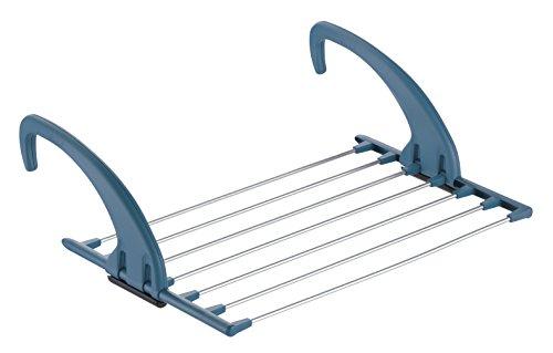 Meliconi stendibiancheria per termosifone con alluminio Lock Radiator, 5 mt di stenditura, colore Blu Avio, 52.5 x 34 x 4 cm. Made in Italy, metallo