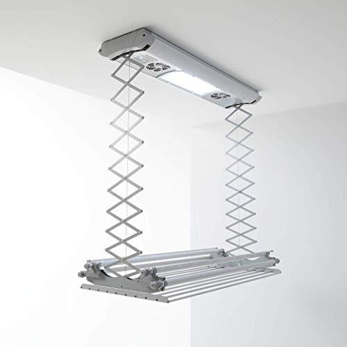 foxydry Air Stendibiancheria da Parete e soffitto Elettrico, stendino stendipanni telecomandato in Alluminio e Acciaio (150)