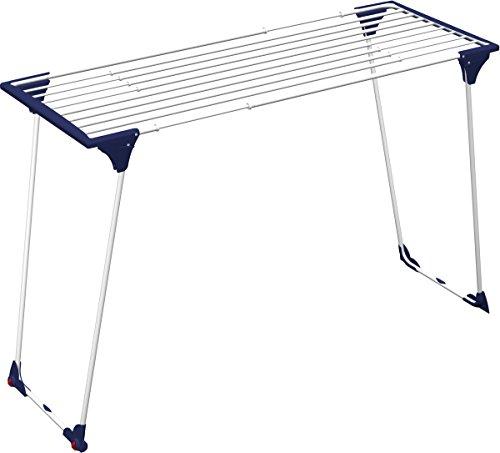 Gimi Dinamik 20 - Stendibiancheria da Pavimento Estensibile in Acciaio, Bianco/Blu, Spazio di stenditura 20 m