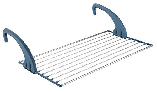 Meliconi Stendibiancheria per Balcone Lock Balcony in alluminio, 10 mt di stenditura, colore Blu Avio, 56 x 105 cm. Made in Italy, metallo