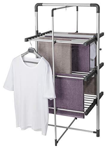 Black+Decker BXAR0005GB - Stendibiancheria elettrico, 300 W, pieghevole, a torre, 3 livelli, funzione di asciugatrice, salvaspazio, silenzioso