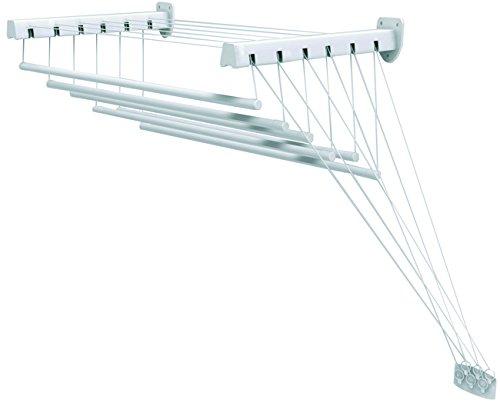 Gimi Lift 160 Stendibiancheria da Parete, Stendino a Soffitto, Saliscendi, Spazio di Stenditura: 9.5 m, Acciaio, Bianco, 160 x 46 x 135 cm