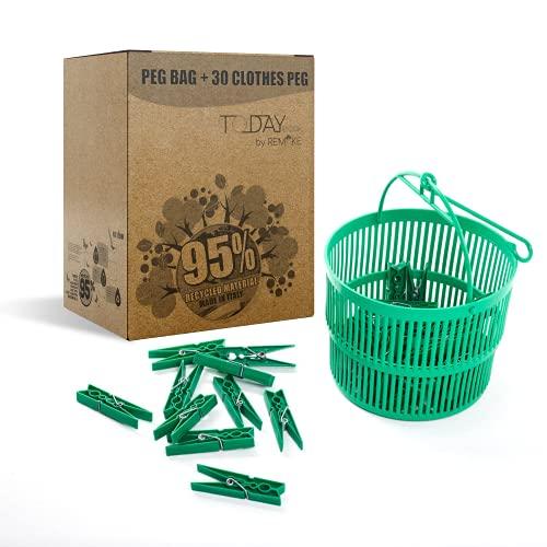 Remake Porta Mollette Bucato da Esterno + 30 Mollette. Ecologiche in Plastica 95% Riciclata. Made in Italy. Misura Grande. Ideali per Appendere Panni Bucato Esterno. Resistenti e Antivento by Today
