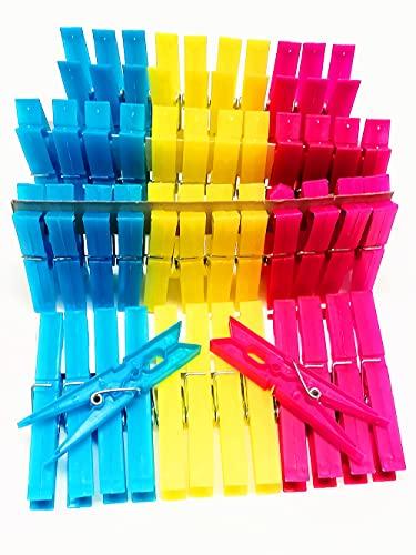Bib Mollette Bucato In Plastica Robuste e Resistenti 48 pezzi - Pinze da Bucato in 3 Colori 9,5x2x1,2 cm da 48pz